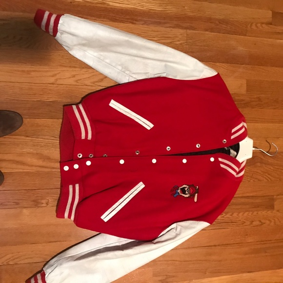 bd95e1f10 Red varsity jacket vintage red wool and leather